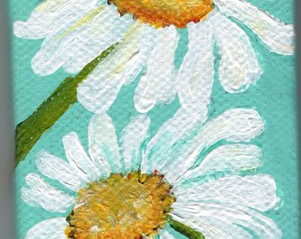 White Shasta Daisies mini canvas art, Painting on Aqua Original on canvas, mini easel, acrylics miniature painting,
