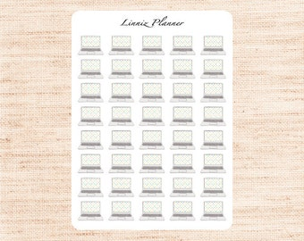 Computer with hearts (Matte planner stickers, perfect for planners)