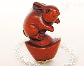 Bunny Ojime Rabbit Necklace The Captain of My Heart - Rabbit Ojime -Rabbit Pendant -Pet Bunny Rabbit Jewelry -Woodland Animal -Bunny Jewelry