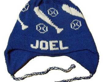 Personalized Earflap Hat - Baseball