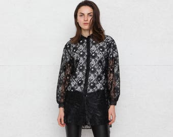 Vintage schwarze transparente Bluse / Größe Medium
