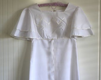 Vintage late 1960s white maxi gown