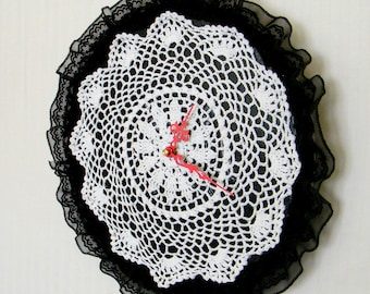 Black and White Doily Wall Clock Shabby Chic Clock Vintage LP Fabric Antique Style Timepiece