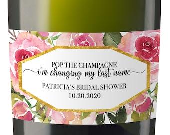 Bridal Shower Mini Champagne Bottle Label,  Custom Bridal Shower Mini Champagne Label, Personalized Mini Champagne Label- Rose Design MN#180
