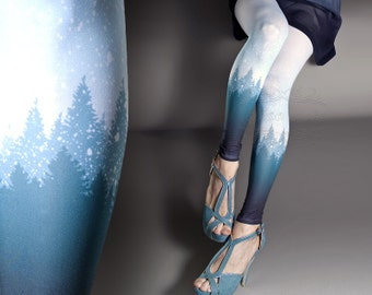 Tattoo Tights - Snowy Trees white one size full length printed footless skinny tights pantyhose tattoosocks