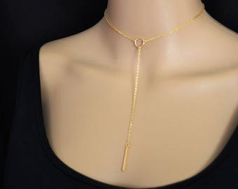 Gold Karma Circle Cleavage Necklace Long Layered Bar Necklace Gold Bar Necklace, Y Necklace Gold Choker Necklace