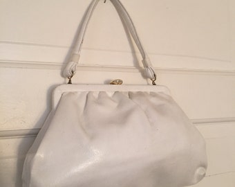 VTG 60s White Leather Clutch Evening Purse