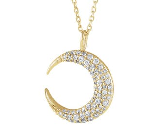 Diamond moon pendant etsy diamond moon necklace vs1 diamonds 14k 18k yellow rose white gold aloadofball Image collections