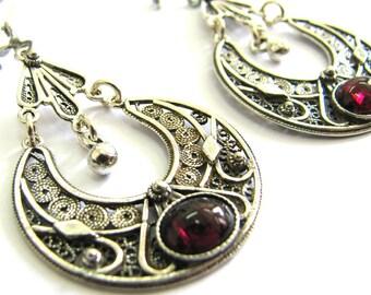 Ethnic Earrings, Sterling Silver, Filigree Silver Earrings, Garnet Gemstones, Women Earrings, Yemenite Filigree, Red Stone, Earrings, ID1017