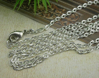 "5 pcs Silver Plated  Long Chain Cross O Chains Necklace. 32"" Inch(O01)"