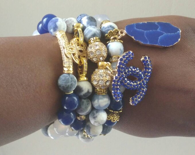 Designer Inspired Blue Matte Stone and Lapis Gold Zircon Stretch Bracelet Stack, Yoga Bracelet's, Gemstones