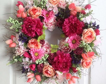 Large Peony and Roses summer wreath for front door, small wreath, wreathe, Summer Wreath, gift for Mom, wedding wreath