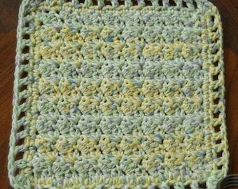Crochet Dishcloth - multicolor - Pale yellow/green/blue/white