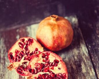 pomegranate stilllife photo print - food fruit photo, wall art, red, fruit art, food photograph, kitchen art, foodie, home decor, vintage