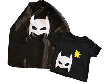 Pow - Superhero Tee & Cape Combo - Black