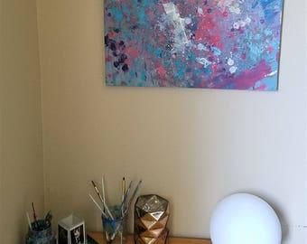 "Original Abstract Acrylic Painting ""Poppy"" Recycled Medium Canvas"