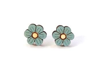 Blue flower earrings ~ hand painted laser cut stud earrings