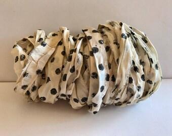 Silk Sari Ribbon-Recycled Polka Dot Sari Ribbon-10 Yards