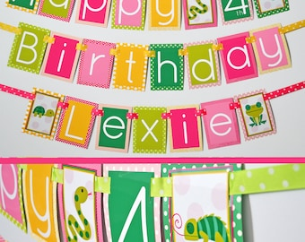 Reptile Birthday Party Banner Decorations Fully Assembled | Girly Reptile Party | Girl Turtle Party | Girl Lizard Party | Girl Snake Party