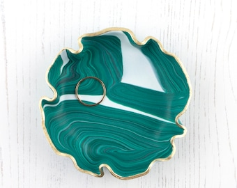 Green Marble Trinket Dish, Ring Dish, Jewellery Dish, Bridesmaid Gift, Gift For Her, Jewelry Dish, Ring Holder