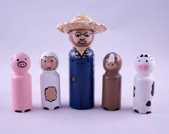 Peg Dolls - Farmer and Animals