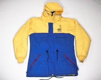 Vintage 80s Calgary Olympics 1988 Yellow Blue IBM Winter Coat