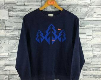 Vintage 1980's NIKE Swoosh Sweatshirt Women Medium Blue Sportswear Streetwear Nike Crewneck Sweater Nike Jumper Blue Size M