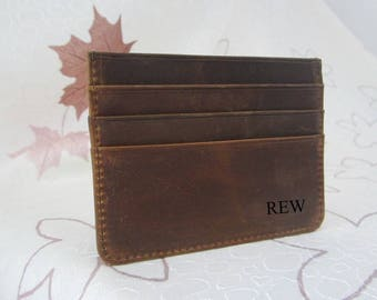 Personalized Leather Card Sleeve,leather card holder,Front Pocket Wallet,Slim Leather card wallet case,groomsmen gift,minimalist wallet,01