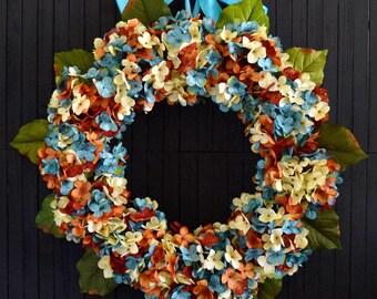 Summer Blended Hydrangea Front Door Wreath - Blue Orange and Cream