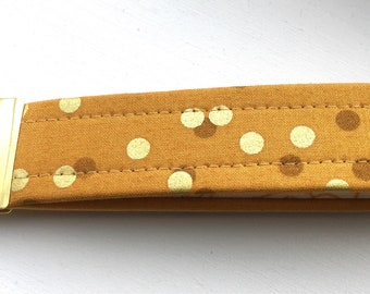 Ombré Mustard Yellow Gold  Dots Key Chain Wristlet Key Fob Gold Colored Hardware Unique Wristlet Key Fob Ombre Confetti Fabric