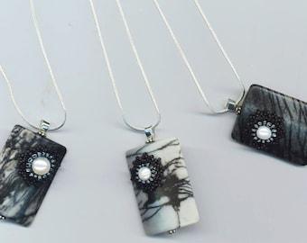 Beadwoven Floral Gothic Jasper Pendant . Black Gray and White . Genuine Pearl . Gothic Beaded Flower - Fleur Noire by enchantedbeas on Etsy