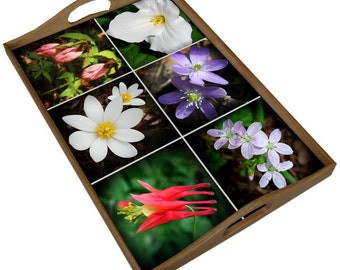 Wood tray with wildflower ceramic tiles, Trillium Hepatica Lady's slipper Bloodroot Columbine, mother's day gift for gardener naturalist