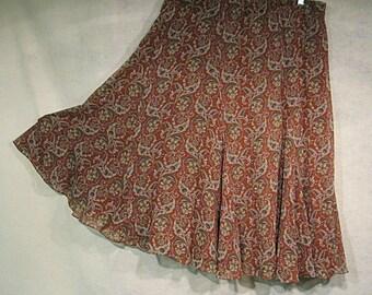 Gypsy Skirt, Boho Skirt, Boho Clothing, Circle Skirt, Paisley Skirt, Vintage Clothing, 90s clothing, Gift for Her, Full Skirt