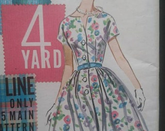 """Butterick 2240 b36"""" 50s 60s vintage dress pattern CUT-  easy- interesting neckline button up front think crepe and silky cottons"""