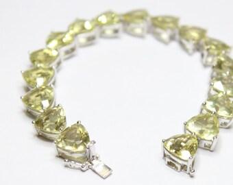 """49.09ctw Trillion Cut Lemon Quartz Bracelet 7.5"""""""