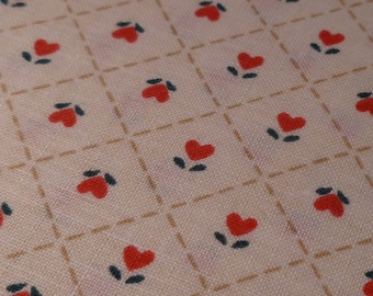 Simple Hearts - Vintage Fabric - Cotton - Country Classic Folk-Art Christmas - Ameritex