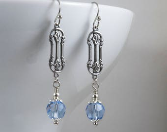 Art Nouveau Earrings, Art Deco Earrings, Light Sapphire Swarovski Crystal, Edwardian Earrings, Antiqued Silver Connector, Handmade UK, 1920s