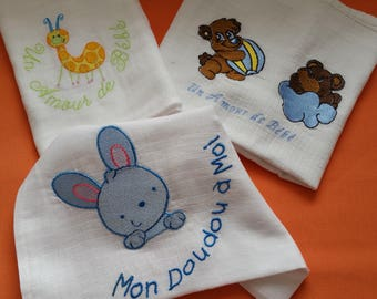Cuddly for baby. Baby blanket gift. Bibs. Pillow cover. Rabbit