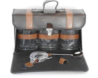 Vintage Travel Bar- Case, Flasks and Stir Sticks- Vintage Camping Gear-