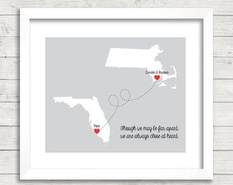 Grandparents & Grandkid's Love Maps - Achusnet, Massachusetts - Estero, Florida - Grandpa - Long Distance Family - Nana and Papa - Christmas