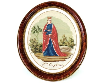 French Antique Religious Tapestry/Antique French Saint Eugenie Tapestry/Framed Tapestry/Antique Tapestry/Antique St Eugenie Tapestry