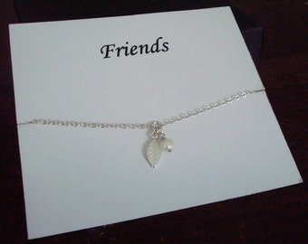 White Pearl and Leaf Charm Sterling Silver Bracelet ~Personalized Jewelry Card for Friend, Best Friend, Sister, Sister in Law, Bridal Party