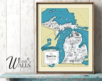MICHIGAN MAP - Map of Michigan, Personalized Wedding Gift, Housewarming Gift, Retro Home Decor, Michigan Wall Decor, Detroit, Green Bay