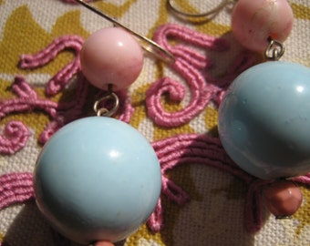 Pink & Blue Bauble Hanging Earrings Costume