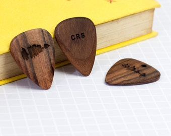 PERSONALISED WOODEN PLECTRUM Engraved Voice Song Sound Wave Music Lover Dad Fathers Day Gift Him Guitar Hero Wood Secret Message Sentimental