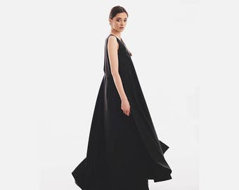 Women Dress, Minimalist Dress, Futuristic Clothing, Fancy Dress, Pretty Dress, Gothic Dress, Maxi Dress, Black Maxi Dress, Empire Dress