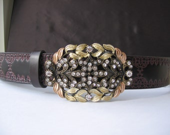 Belt Buckle, Womens Rhinestone belt buckle with leather belt, fashion belt,