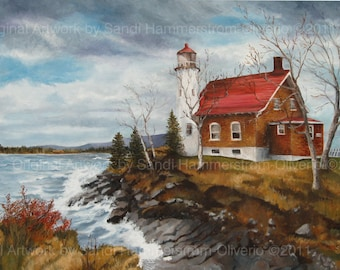 Lighthouse Eagle Harbor Michigan Giclee Print
