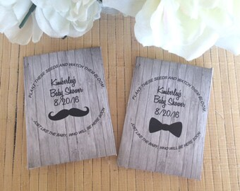 35 Baby Shower Seed Packet Favors, Mustache Baby shower favors, Bowtie Baby Shower favors, boy baby shower favors, mustache party favors