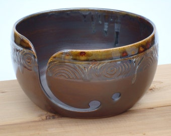 Dark Brown Pottery Yarn Bowl with hand carved design, Ceramic Knitting bowl, Crochet bowl,  yarn holder for knitters